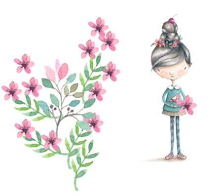 宝物の花を咲かせる少女